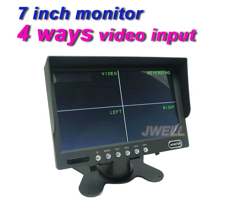 7inch TFT-LCD 4 CH Video Inputs Car Rearview Quad Split Monitor