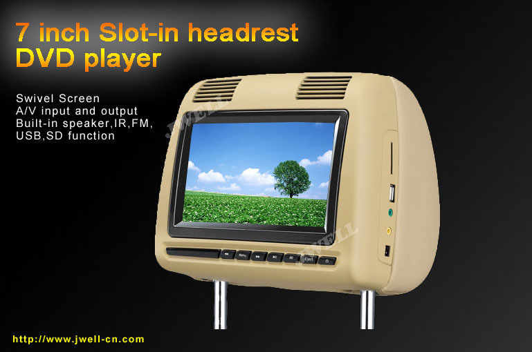 7 inch Headrest DVD Player with Dual IR/FM Transmitter
