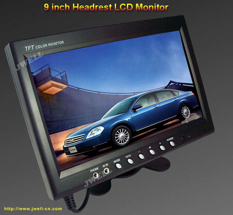 9 inch Headrest LCD Monitor, Picture can be left/right and up/down rotate