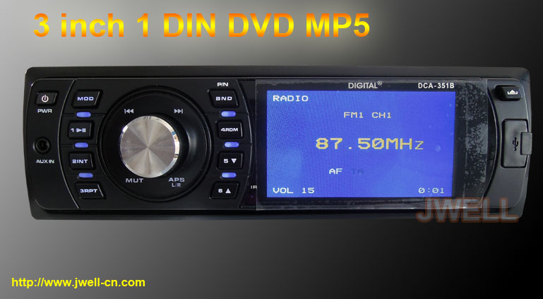 3 inch 1 din car DVD Player with USB SD AM FM Detachable Panel