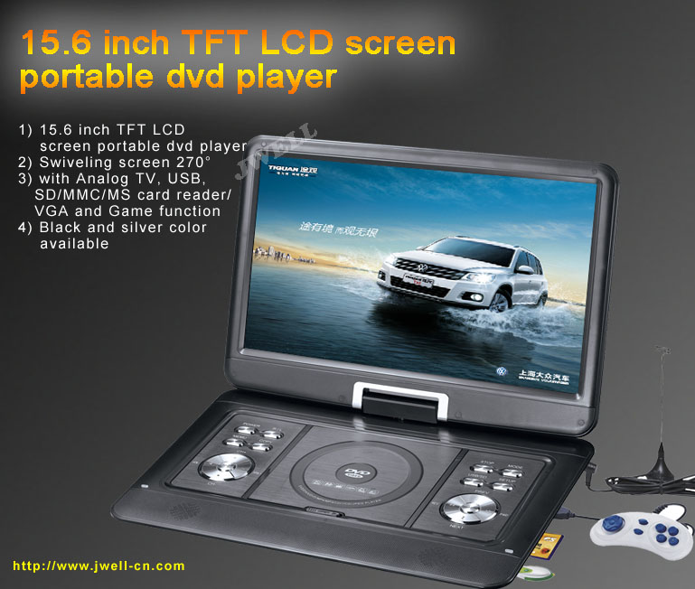 15.6 inch Portable DVD Player with TV,USB,SD,VGA,Copy and Game function