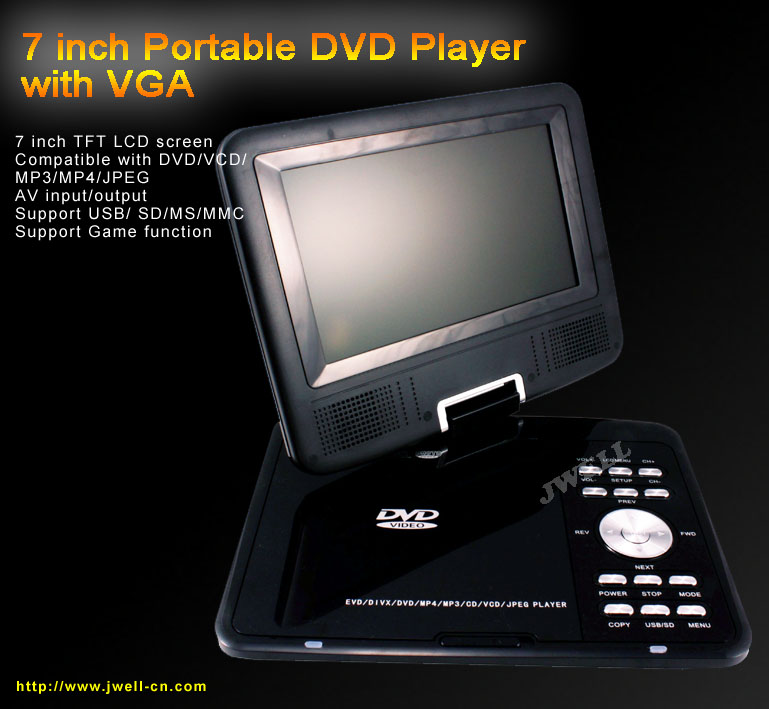 7 inch Portable DVD player with TV,USB,SD,Game function
