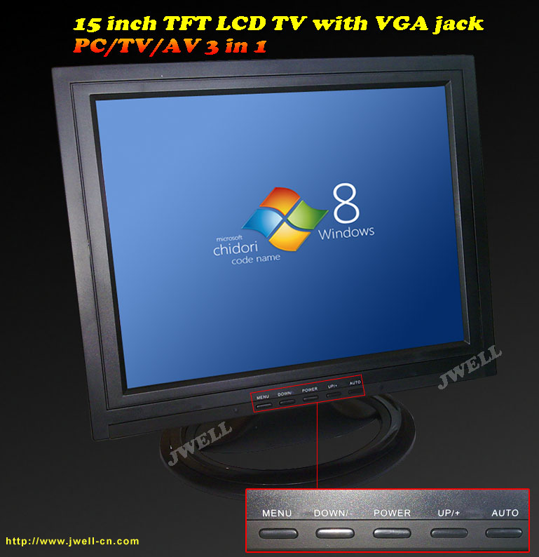15 inch TFT LCD TV with VGA jack(pc monitor)