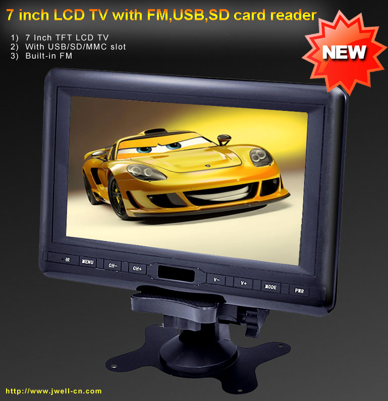 7 inch LCD TV with FM,USB,SD card reader