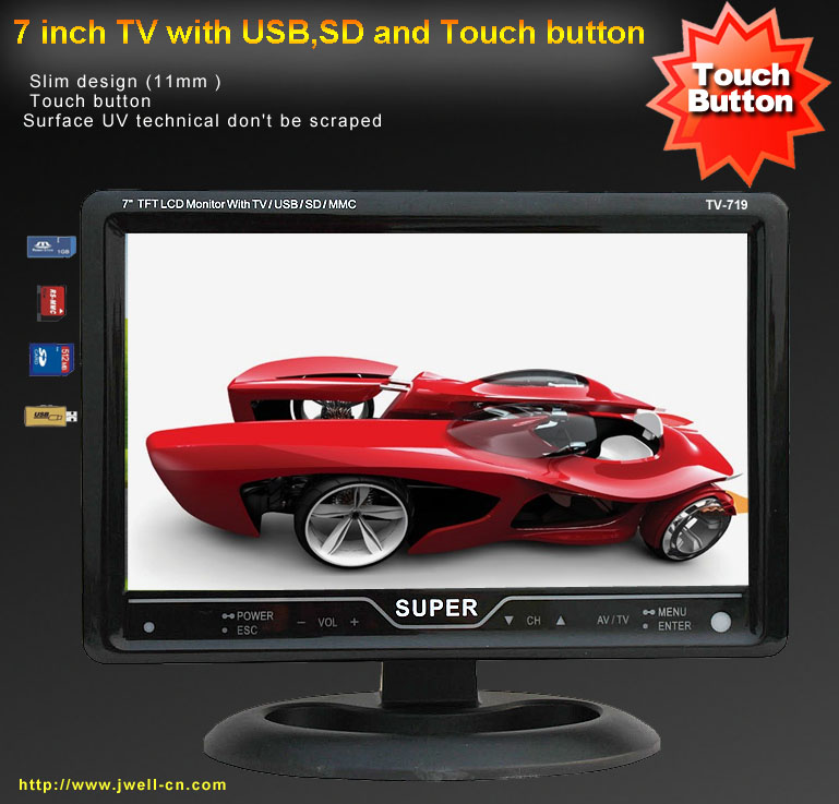 7 inch TFT LCD TV with touch button and USB,SD card reader (Digital photo frame)