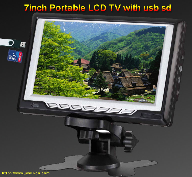 7 inch Portable LCD TV with FM,USB,SD card reader