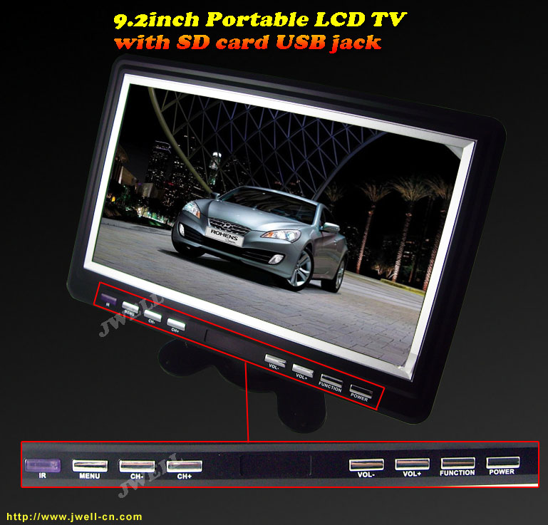 9.8 inch Portable LCD TV with FM,USB,SD function