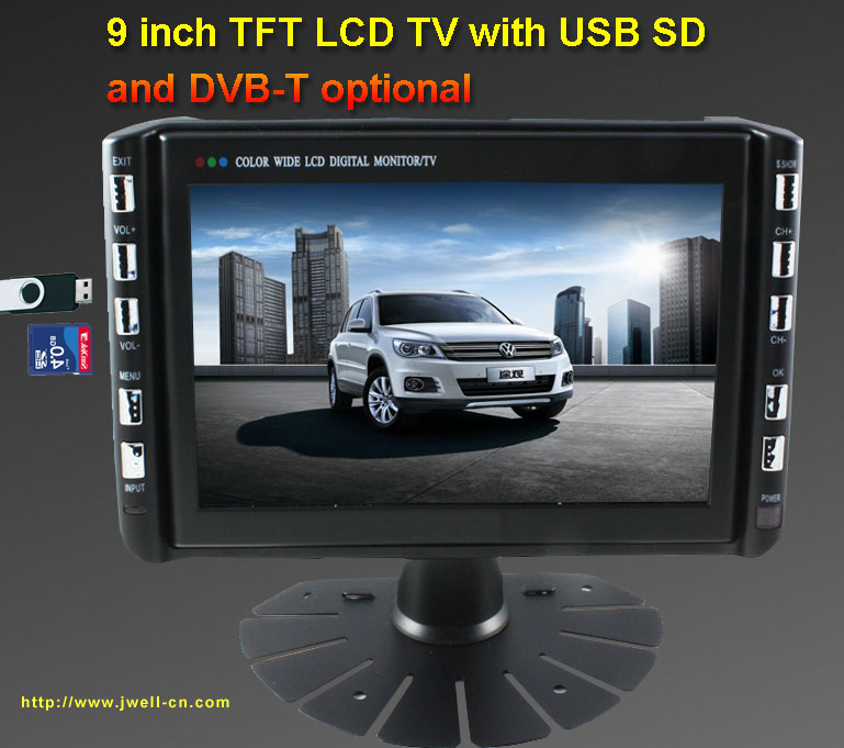 9inch TFT LCD TV with USB SD and DVB-T optional
