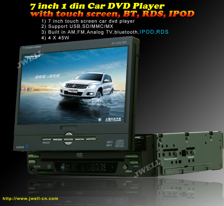 7 inch single din Car DVD Player with touch screen, BT, RDS, IPOD